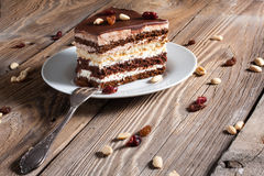 Piece of chocolate cake. On plate Stock Images