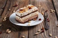 Piece of chocolate cake. On plate Stock Photos