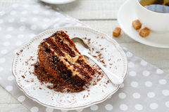 Piece of chocolate cake on a plate Royalty Free Stock Image