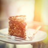 Piece of chocolate cake on plate Stock Image