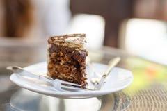 Piece of chocolate cake on plate Stock Photo