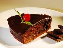 Piece of chocolate cake on a plate. Fresh piece of cake with chocolate cream on a plate Royalty Free Stock Photos