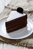 Piece of chocolate cake on plate, sackcloth, cream and biscuit. Birthday confectionery food stock photos