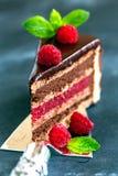 Piece of chocolate cake. Stock Photos