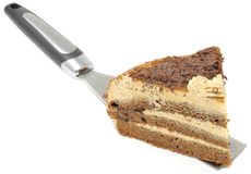 Piece of Chocolate Cake on Spatula Royalty Free Stock Photography