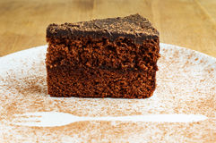 Piece of chocolate cake in a white plate with cocoa powder Royalty Free Stock Images