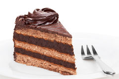 Piece of chocolate cake. Royalty Free Stock Images