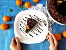 A piece of chocolate cheesecake on a plate. Decorated with chocolate glazing stock photography
