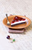 Piece of Chocolate Cherry Cake Stock Photo