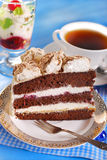 Piece of chocolate and cherry torte Stock Photo