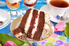Piece of chocolate and cherry torte Royalty Free Stock Image