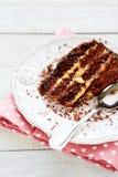 Piece of chocolate coffee cake Royalty Free Stock Image