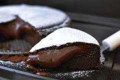 A piece of chocolate lava cak Stock Photos