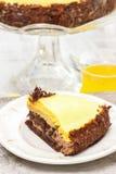 Piece of chocolate layer cake on white ceramic plate Stock Photos