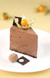 Piece of Chocolate Mousse Cake Stock Photos