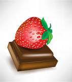 Piece of chocolate with strawberry Stock Images