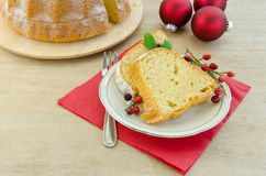 Piece of Christmas cake. With baubles Stock Image