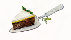 Piece of Christmas Cake on a Cake Slice. Royalty Free Stock Photos