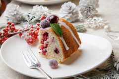 Piece of Christmas Cranberry Cake Royalty Free Stock Images
