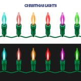 A piece of Christmas garland of shining lights. Stock Image