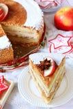 Piece of Christmas homemade apple cake with cinnamon Stock Photo
