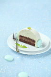 Piece of Christmas Mint Chocolate Yule Log Royalty Free Stock Photo