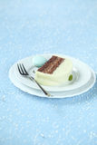 Piece of Christmas Mint Chocolate Yule Log Royalty Free Stock Photography