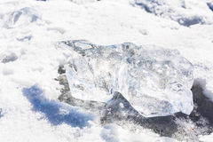 Piece of clear ice indefinite form Royalty Free Stock Images