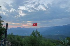Turkish flag in the sky royalty free stock photo
