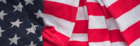 Piece of clothing with USA flag pattern stock image