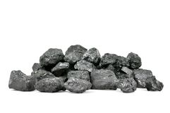 Piece of coal isolated on white Stock Photography