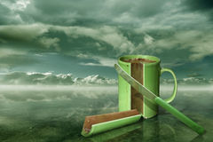 A piece of cocoa. Surreal Work - Photomontage with Photoshop. On a knife there is my Autograph Royalty Free Stock Photos