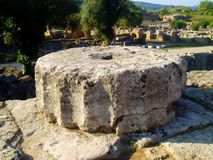 Piece of column in Olympia-Greece Royalty Free Stock Image