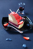 Piece of Contemporary Berry Mousse Cake Royalty Free Stock Photography