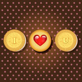 Piece of cookie with words I love you Stock Image