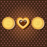 Piece of cookie with words I love you Royalty Free Stock Photography