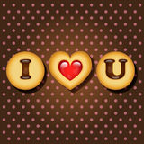Piece of cookie with words I love you Royalty Free Stock Images