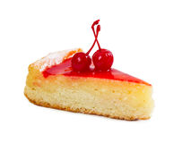 Piece of cottage cheese cake with two cherries and cherry syrup Royalty Free Stock Images