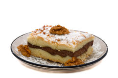 A piece of cottage cheese cake with walnut Royalty Free Stock Image