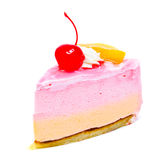 Piece of cream cake with cherry on top isolated Royalty Free Stock Images