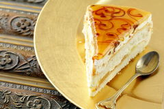 Piece of cream  caramel cake Royalty Free Stock Photo