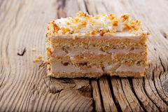 Piece of creamy hazelnut cake on Royalty Free Stock Images