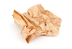 Piece of crumpled brown packaging paper Royalty Free Stock Images