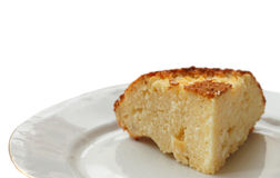 Piece of the curd baked pudding Stock Photo