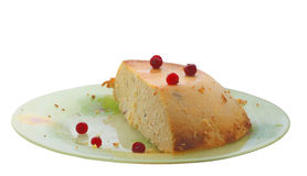 Piece of the curd baked pudding Royalty Free Stock Photo