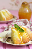 Piece of curd casserole (pudding) with honey dressing. Royalty Free Stock Photo