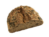 Piece of cut healthy rye bread with seeds Stock Image