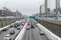 The piece of the Decarie highway in Montreal Island Royalty Free Stock Photography