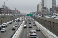 The piece of the Decarie highway in Montreal Island Stock Image