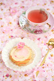 Piece of Deco Roll Cake with strawberry cream fill Royalty Free Stock Photos